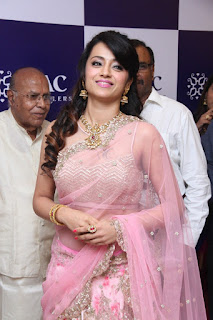 Trisha Looks Sizzling Spicy Transparent Pink Saree and Deep neck Choli at NAC Jewellers Launch Event Mind Blowing beauty