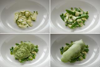 zöld borsó zöldborsó petrezselyem házi tészta derelye ravioli menta olaj mentaolaj marinált cukkíni peperóni chili cukorborsó medvehagyma bimbó hab lecitin