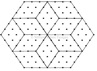3 Rhombus kolam Interlocked dots 15 to 8 dots