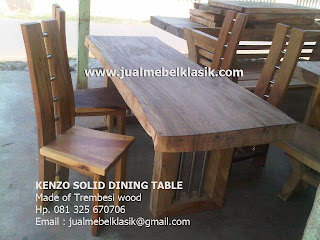 Supplier solid table solid wood 1 piece dining table Solid trembesi wood dining table from Jepara
