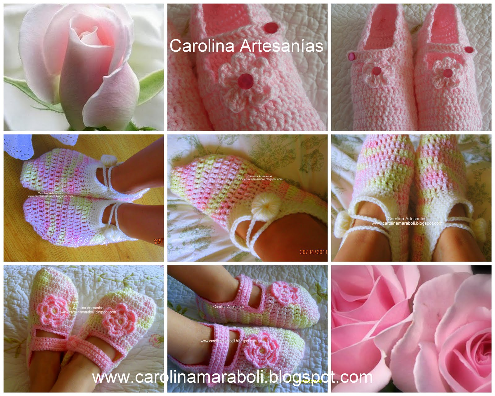199.- Pantuflas tejidas a crochet