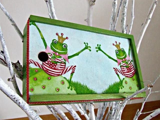 pudełko na kredki decoupage z motywem żaby by Eco Manufaktura