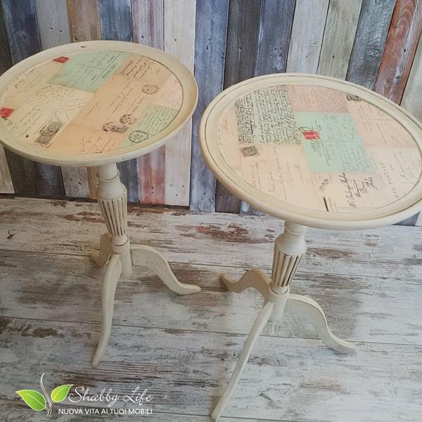 restyling shabby chic di tavolini servomuti