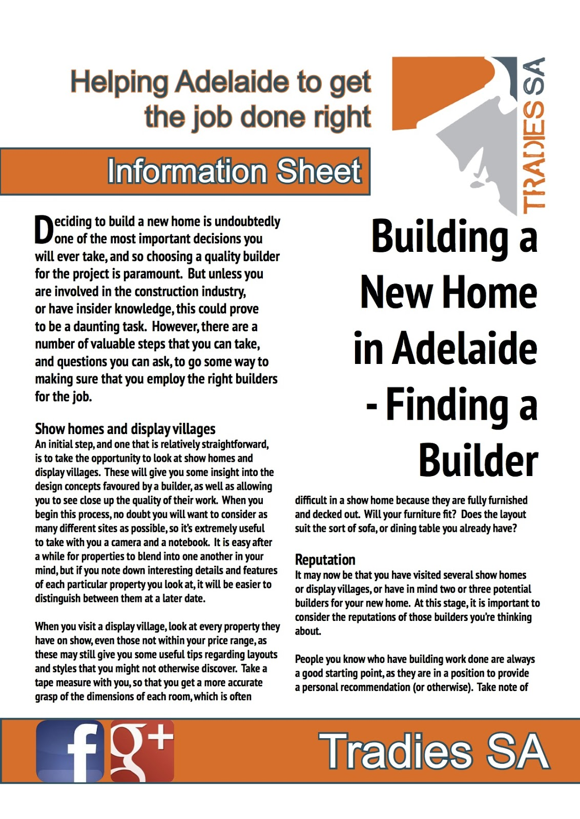 Tradies sa find tradies in adelaide building a new home for Find a home builder