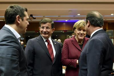 Alekszisz Ciprasz, Ahmet Davutoglu, Angela Merkel, Francois Hollande, Twitter, török légtér, orosz vadászgép, Görögország, Törökország,