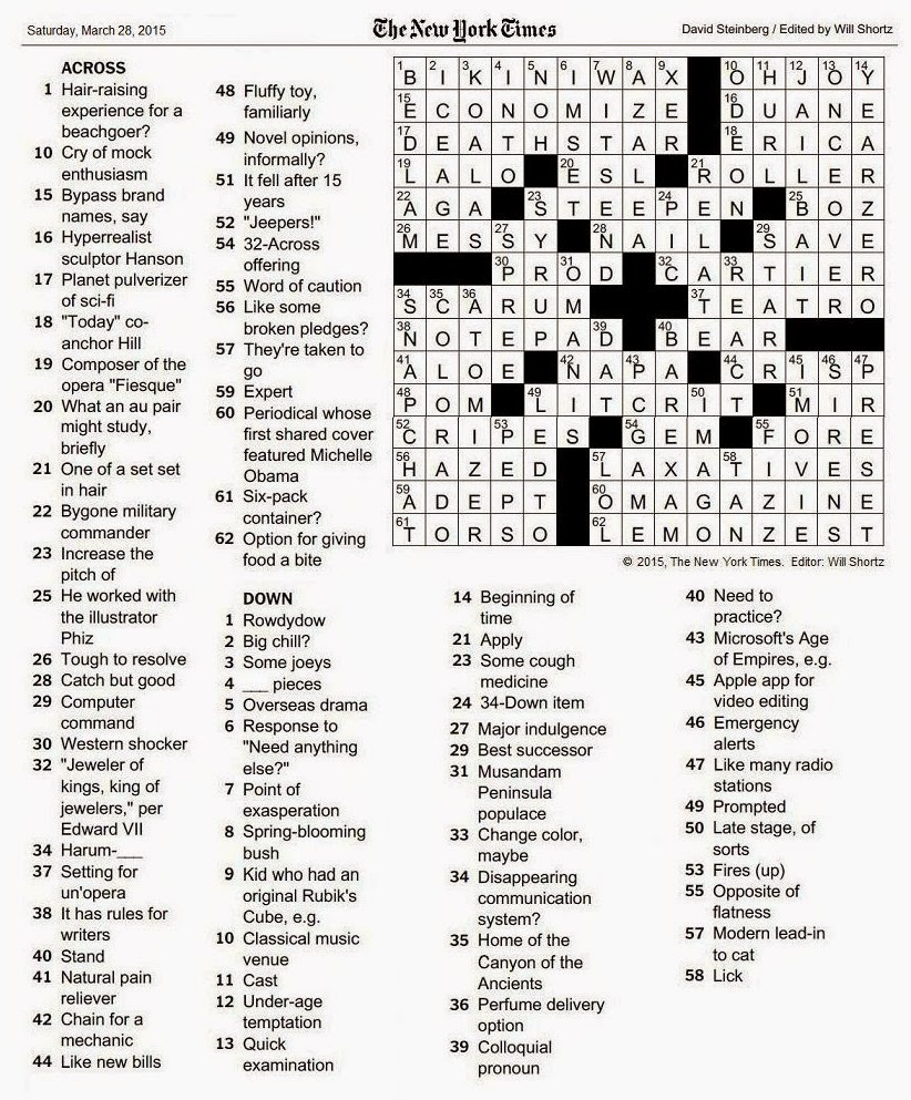or Right click and select u201cOpen Link in New Window .  sc 1 st  The New York Times Crossword in Gothic & The New York Times Crossword in Gothic: March 2015 25forcollege.com