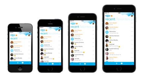 Skype updated for the larger screens on the Apple iPhone 6 and Apple iPhone 6 Plus