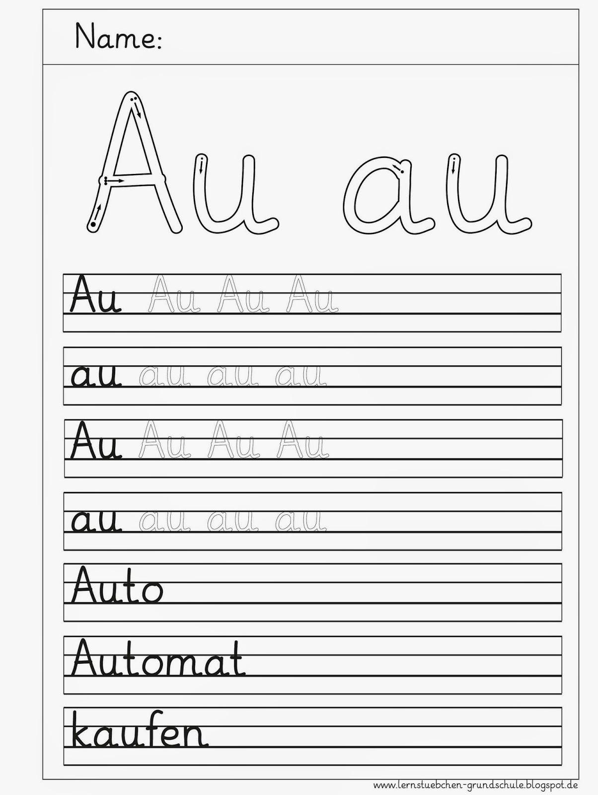 Lernstübchen: Au - au Schreibblätter