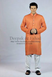 Orange Kurta With White Salwar For Men