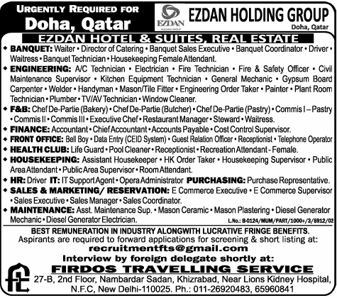 Urgently Required Ezdan Holding Group Qatar