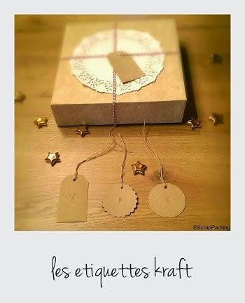 Etiquettes carton kraft retro