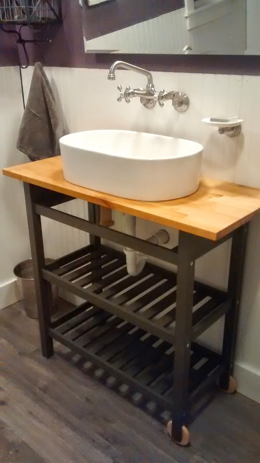 Once upon an acre ikea kitchen cart hack turning a for Ikea bath vanity