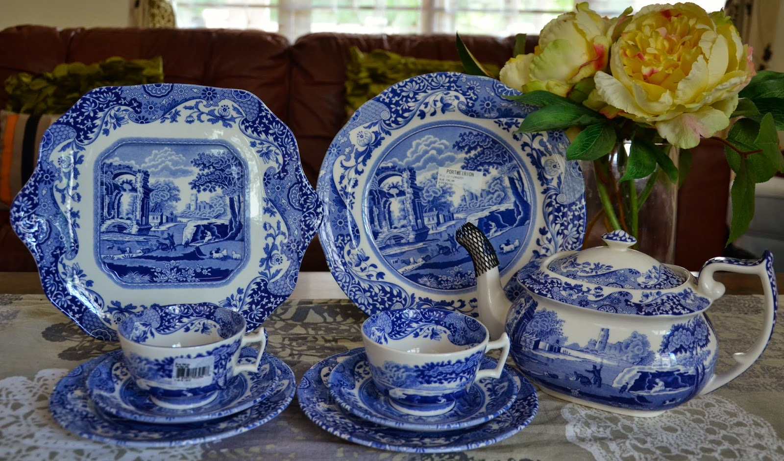 SPODE Blue Italian Tea Set and Dinner Plates & Kitch u0027nu0027 Chic: SPODE Blue Italian Tea Set and Dinner Plates