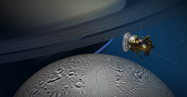 NASA's Cassini spacecraft will get its best-ever look at the northernmost reaches of the Saturnian moon Enceladus on Oct. 14. Credit NASA/JPL-Caltech