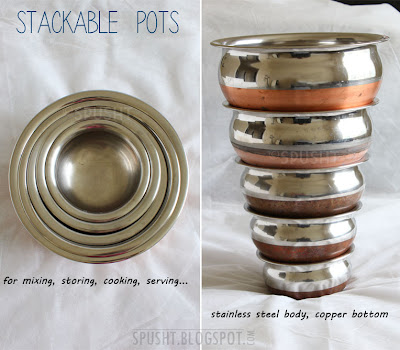 stackable pots for mixing, storing, cooking, serving - hindi: patila