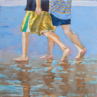 child beach shallow bay oil painting newfoundland