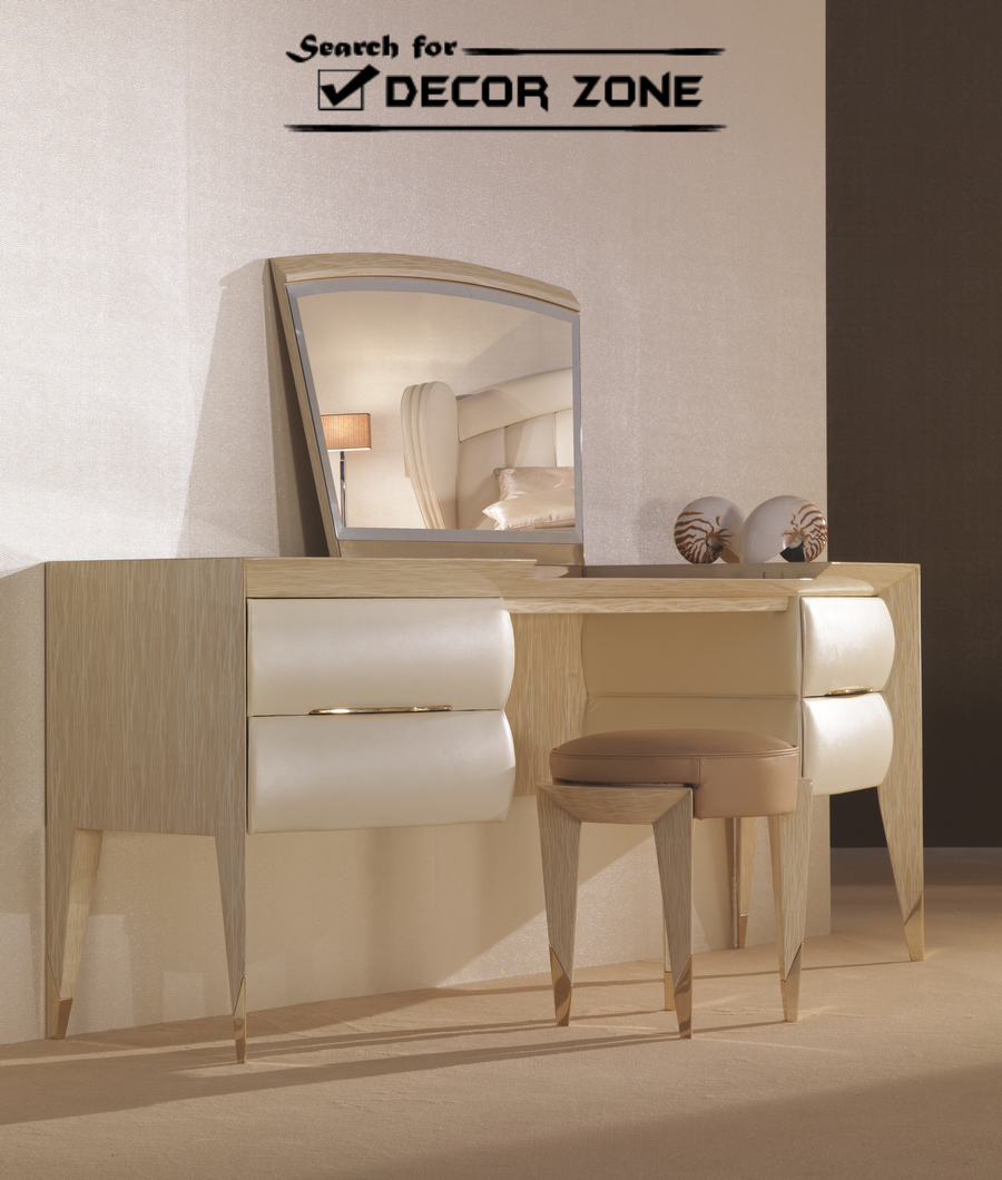 White modern dressing table with mirror