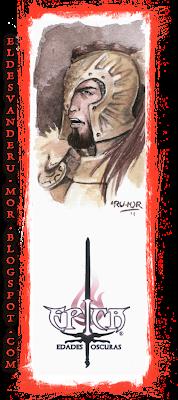 Acuarela (marcapáginas) del personaje Kánator del juego de cartas ÉPICA: Edades Oscuras realizado por ªRU-MOR. Fantasía medieval