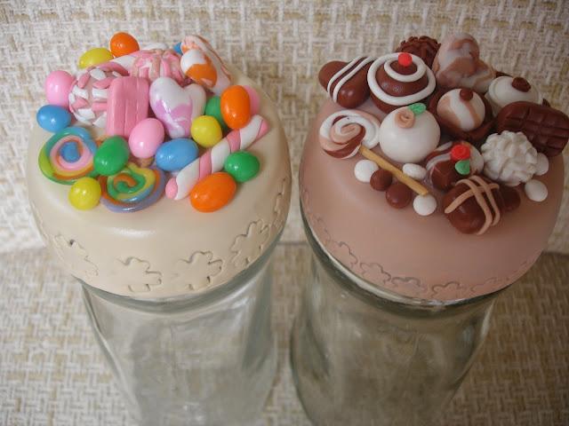 Doces, guloseimas e chocolate, vidro decorado em biscuit
