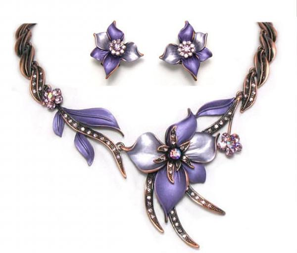 Lavender Flowery Jewelry Set
