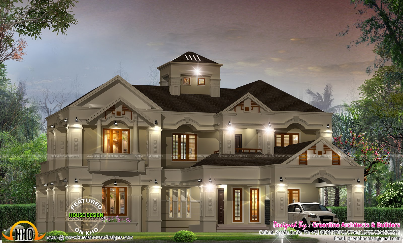 Luxury villa design in kerala kerala home design and for Colonial style home design in kerala