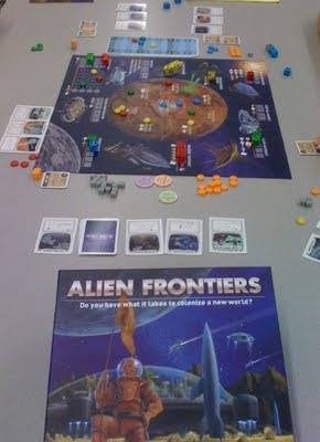 Alien Frontiers board game in play