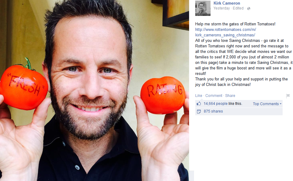Kirk Cameron Urges His Facebook Fans To Storm The Gates Of Movie ...