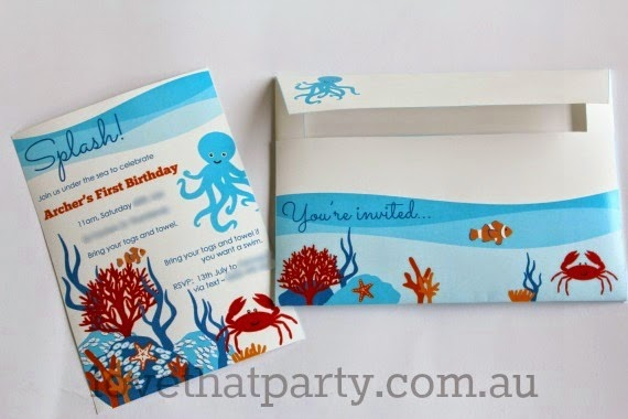 Under the Sea Printable Invitation & Envelope by Love That Party. Avail at http://lovethatparty.bigcartel.com/product/under-the-sea-party-printable-invitation-digital-file