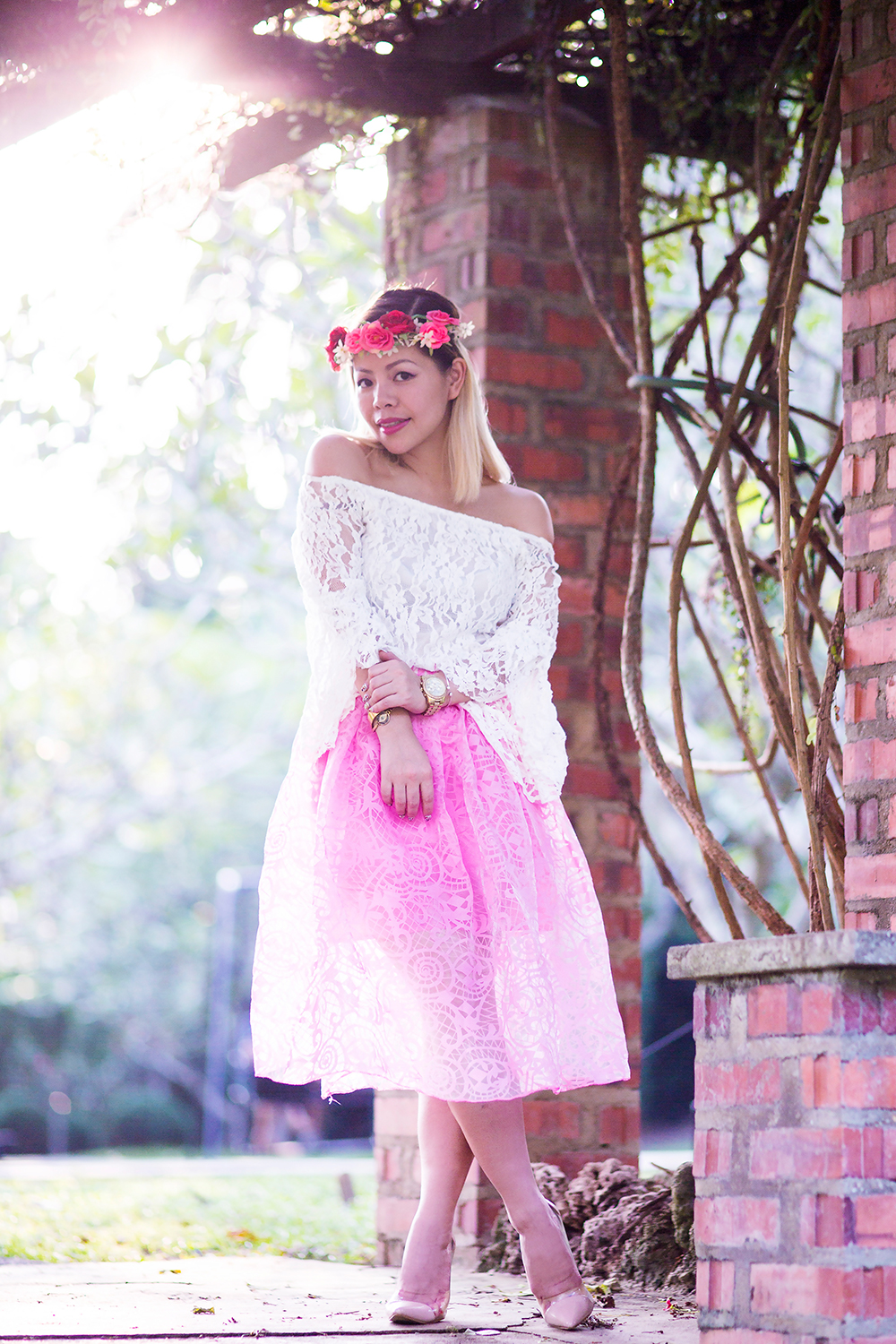 Crystal Phuong- Singapore Fashion Blog- Sweet look with chiffon midi skirt, off shoulder lace top and floral crown