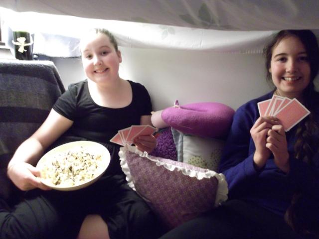 My princesses inside their pillow fort #PopSecretForts MyWAHMPlan.com