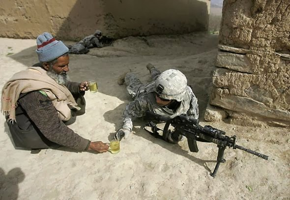 When this civilian brought something to drink to a soldier fighting on his own soil.