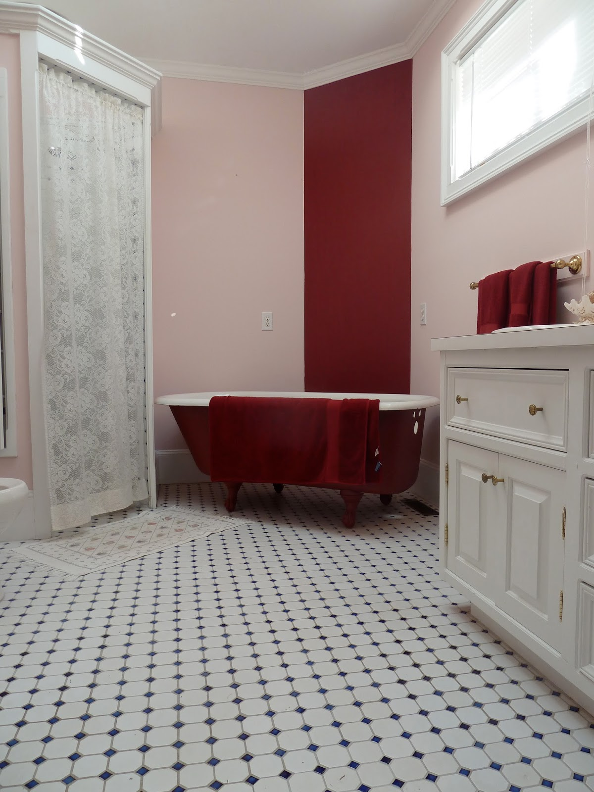 "Master Bath before with ""just for show"" red soaking tub (not"