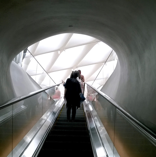 Escalator to the third floor of the Broad Museum Los Angeles