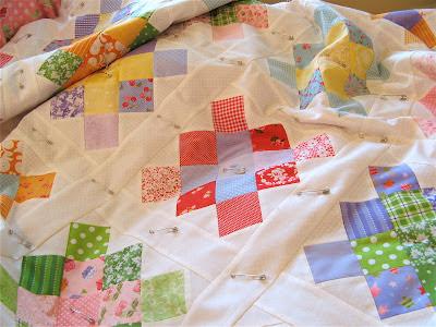 Scrappy pastel granny square quilt
