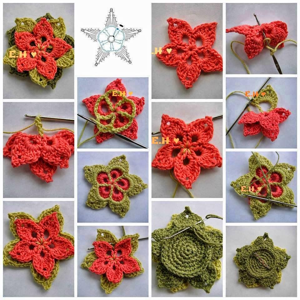 apliques flores crochet ganchillo patron diagrama