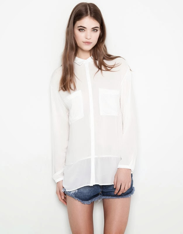 camisa blanca pull and bear
