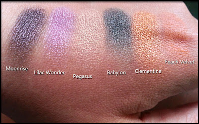 Nabla Cosmetics - Butterfly Valley - Swatches di Moonrise, Lilac Wonder, Pegasus, Babylon, Clementine e Peach Velvet