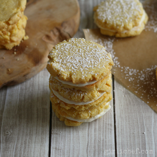 Lemon Cornmeal Sandwich Cookies - All Roads Lead to the Kitchen