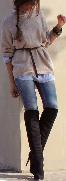 Grey sweater, jeans and long boots for fall street style