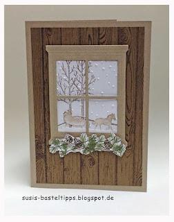 Stampin Up Produkte schlittenfahrt, leise rieselt,  wonderland, hardwood, trautes Heim und weisse weihnacht auf einer Karte kombiniert
