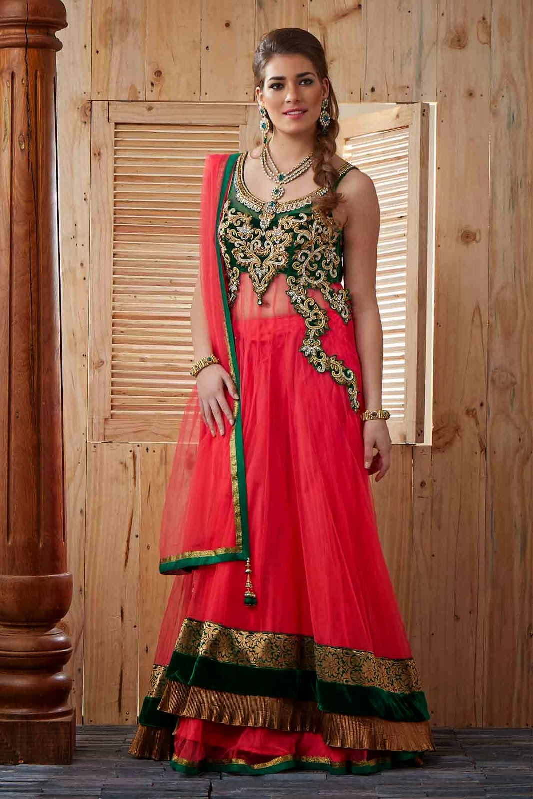 Multi-Colour Net Lehenga with Zardosi Embroidery