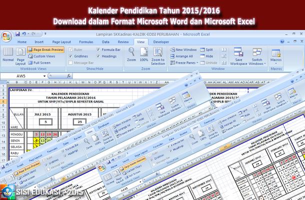 Kalender Pendidikan Tahun 2015-2016 Download dalam Format Microsoft Word dan Microsoft Excel