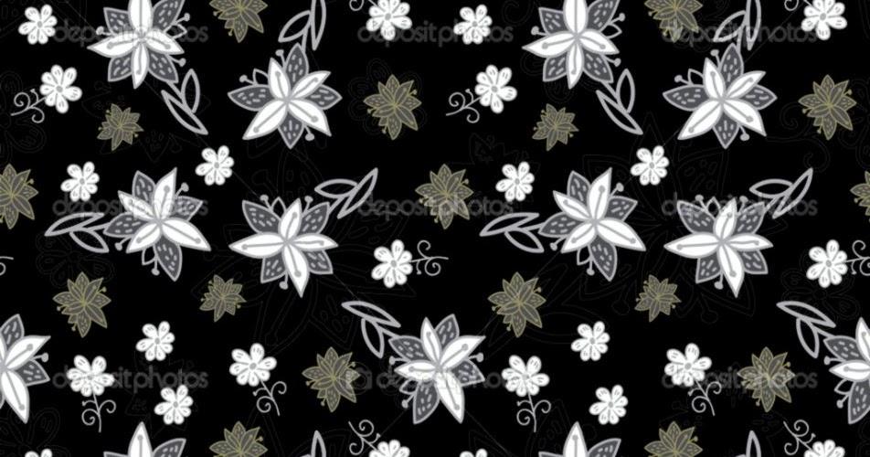 Vintage Flower Wallpaper Black And White