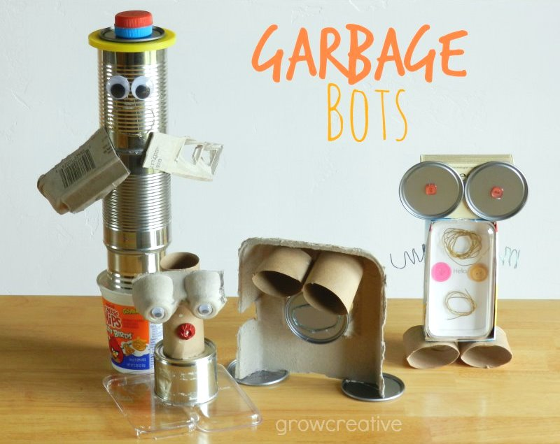 Garbage Robots made from recyclable materials