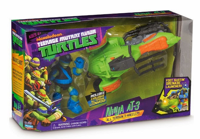 JUGUETES - LAS TORTUGAS NINJA  Ninja AT3 | Vehiculo Todoterreno + Figura Leonardo Exclusiva  Producto Oficial | Playmates - Giochi Preziosi | A partir de 4 años