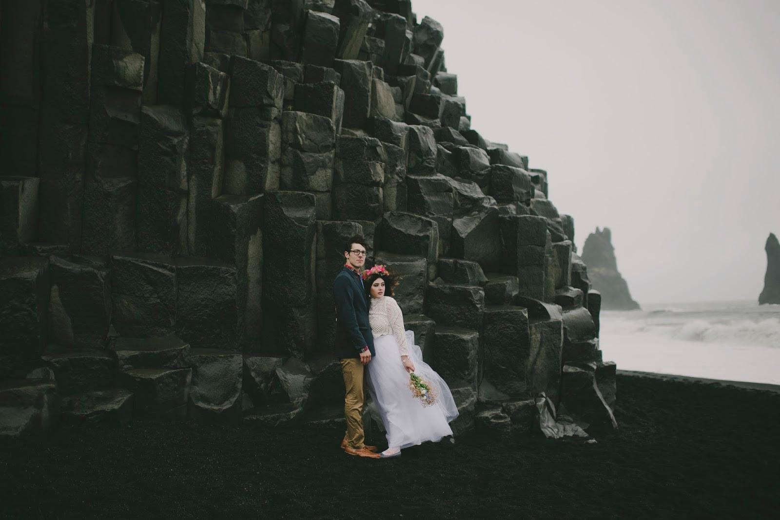Iceland, wedding, elope, Vik, black, sand, beach