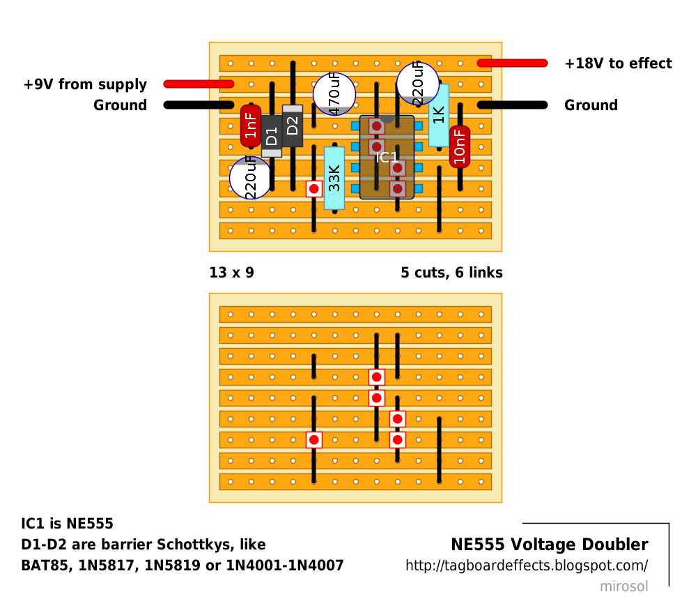 Guitar Fx Layouts Ne555 Voltage Doubler Timer Control Circuit Diagram Moreover Using 555 Isnt As Small Chip Will Need Couple Of Resistors And Caps To Get The Job Done Still Simple Enough
