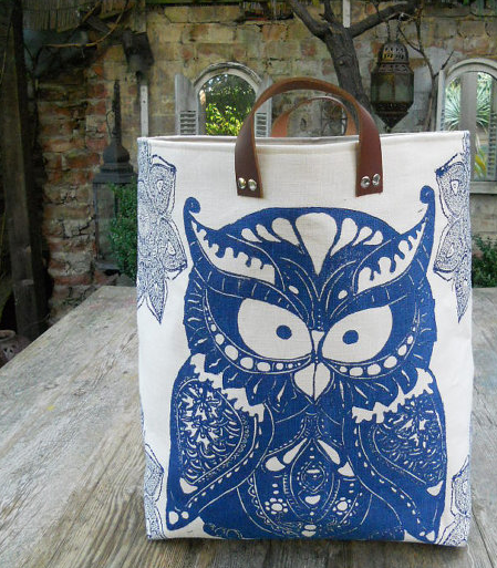 laundry hamper with blue owl