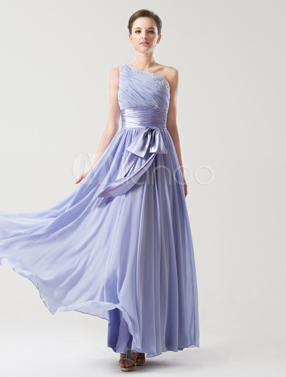 One-Shoulder Bow Chiffon Lavender Bridesmaid Dress