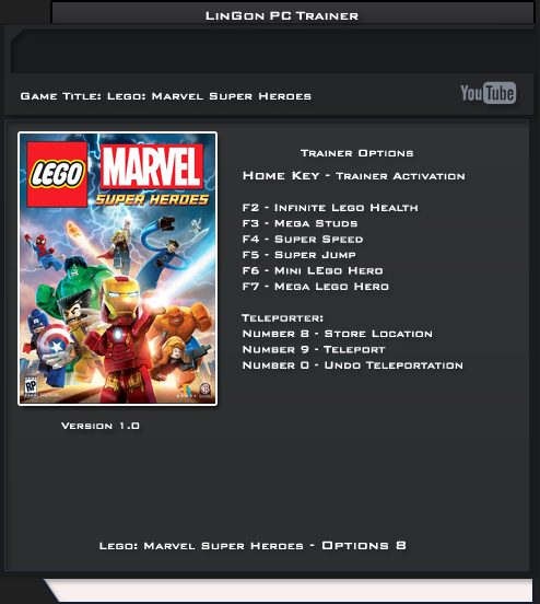 LEGO: Marvel Super Heroes v1.0 Trainer +8 [LinGon]